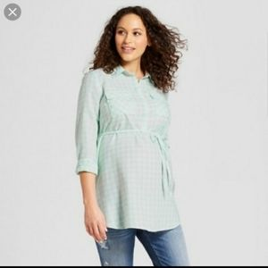 Isabel gingham mint tunic top